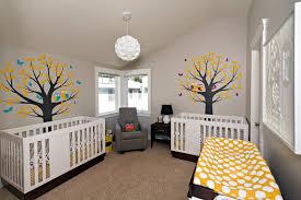 our twins modern nursery grey u0026 yellow with a woodland theme