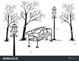 park benchlamp trees hand drawing illustration stock vector