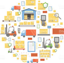 concept of logistics business warehouse transportation delivery concept of logistics business warehouse transportation delivery and cargo circular background icons royalty
