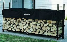 amazon com the woodhaven 8 foot firewood log rack with cover