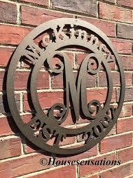 last name monogram monogram metal wall established family last name monogram