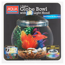 aqua culture 1 gallon globe bowl with led light 7 25