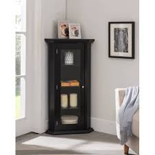 how to clean corners of cabinet doors didan black wood contemporary corner curio display cabinet with 3 storage shelves glass doors