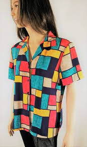 notations blouses vintage 80 s s summer sleeve colorful geo