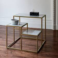 marble and brass coffee table cityscape side table west elm