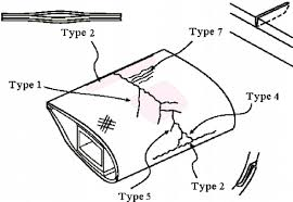 a sketch illustrating some of the common damage types found on a
