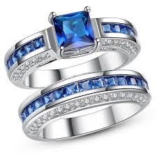 blue rings white images Blue sapphire vintage jewelry women men fashion wedding ring set jpg