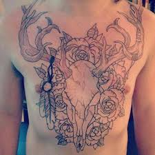deer skull n flowers tattoo on chest for men tattoos book