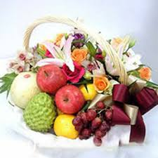 fruit and flower basket valentines day teddy with message 10inch sri lanka online