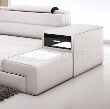 mini sectional sofa in white bonded leather by vig