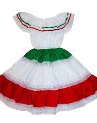 girls tricolor gypsy peasant mexican lace dress cinco de mayo