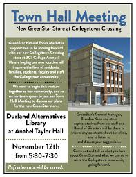 town hall meeting greenstar in collegetown durland