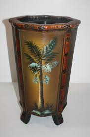 palm tree home decor painted palm tree bamboo wood umbrella stand trash bin legs home