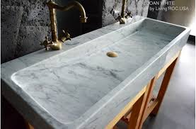 Double Bathroom Sink White Carrara Marble Stone Trough LOOAN WHITE - Marble kitchen sinks