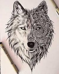 mandala wolf design