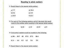 rounding to nearest whole number worksheet by meganelizabethpalmer