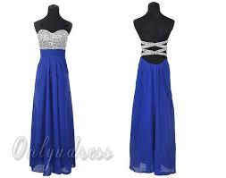 blue long prom dress open back royal blue dresses long chiffon