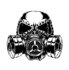 Masker Gas engrave isolated gas mask vector illustration sketch linear