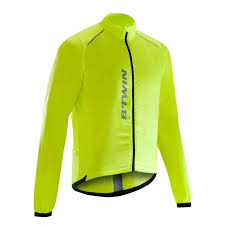fluorescent cycling jacket roadr 500 wind jacket red decathlon