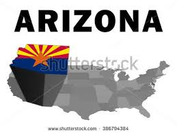 map of the united states with arizona highlighted outline map united states state arizona stock illustration