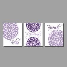 grey and purple bathroom ideas modern floral flower flourish artwork set of 3 trio prints relax
