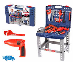 work bench kids play set with tools diy tool kit construction toy new