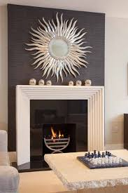 Black Feature Chimney Breast With Sunburst Mirror And Cream - Design mirrors for living rooms