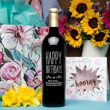 birthday wine happy birthday flower etched wine u2013 etchedwine com
