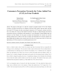 consumers perception towards the value added tax vat in uttar