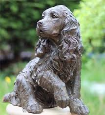 adorable springer spaniel cocker bronze effect statue garden