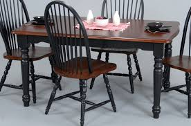 Rectangular Brown Table With Black Chairs Combined Stripped Napkin - Black dining table with wood top