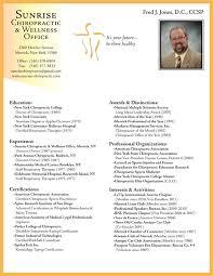 Respiratory Therapist Sample Resume by 28 Curriculum Vitae Chiropractic Chiropractor Resume