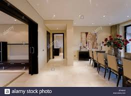 marble floor in modern dining room in holiday apartment at the