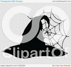 halloween spider webbing transparent background clipart of a black and white silhouetted witch hat and spider web