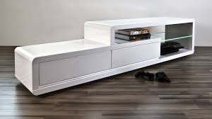 modern white high gloss tv table 2 drawers clear glass shelf