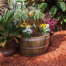 pond boss bordeaux wine barrel fountain and planter