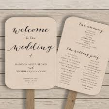 wedding program fan template wedding program fan template printable rustic wedding fan