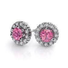 martini diamond 3 4 ct pink sapphire and diamond stud earrings 14k white gold