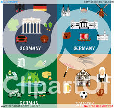 clipart of german items and landmarks with text royalty free