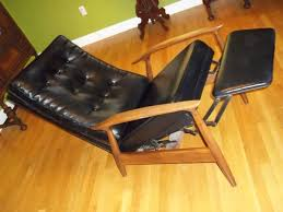Black Leather Recliner Chairs Mid Century Danish Black Leather Recliner Collectors Weekly