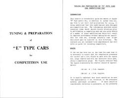 jag lovers brochures tuning an e type for competition use