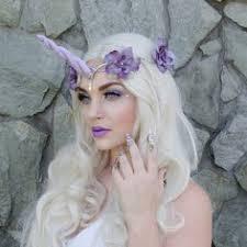 Halloween Costume Unicorn Yanjie Shiny Unicorn Horn Ears Flower Headband Cosplay Costume