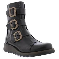 womens leather motorcycle boots fly london scop 110 black womens leather ankle boots ebay