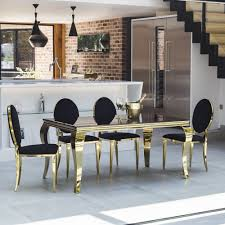 gb116 bg louis gold dining table with black glass