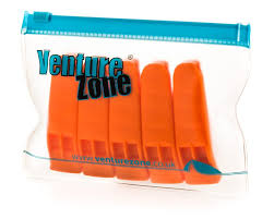 orange safety whistle 5 pack with zip pouch amazon co uk