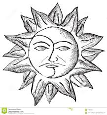 sun and moon face sketch stock illustration image 44876315