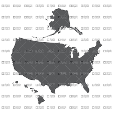 us map w alaska usa map outline with alaska and hawaii vector image 1342