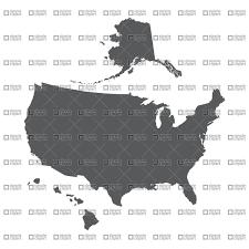 usa map alaska usa map outline with alaska and hawaii vector image 1342