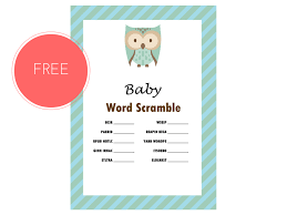 free owl baby word scramble game magical printable