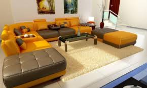 Yellow Leather Sofa Yellow And Brown Bonded Leather Modern Sectional Sofa Modern